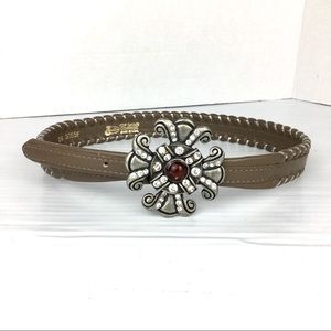 Silver tone buckle and Justin leather belt